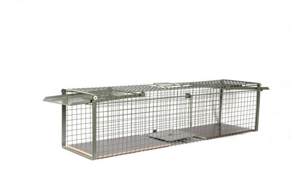 Kraptrap® Tierfalle Marderfalle Katzenfalle 116cm Durchlauffalle mit Holzboden