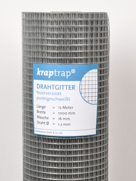 Kraptrap® Volierendraht Drahtgitter 16 mm Masche, 100 cm breit, 1,2mm Drahtstärke