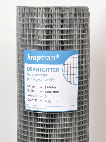 KrapTrap® Volierendraht, Drahtgitter, 6x6 mm Masche, 100 cm breit, 0,55mm Drahtstärke