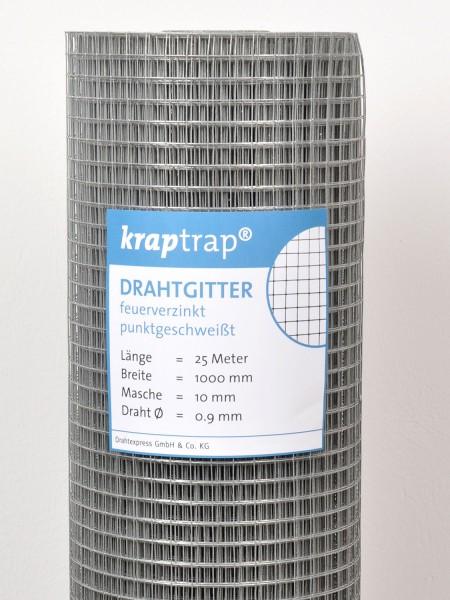 Kraptrap® Volierendraht Drahtgitter 10,6 mm Masche, 100 cm breit, 0,9mm Drahtstärke