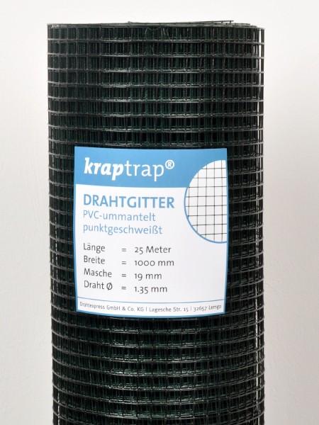 Kraptrap® Volierendraht Drahtgitter 19 mm Masche, 100 cm breit, schwarz ummantelt