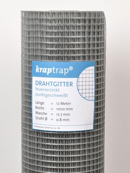 Kraptrap® Volierendraht Drahtgitter 12,7 mm Masche, 100 cm breit, 0,8mm Drahtstärke