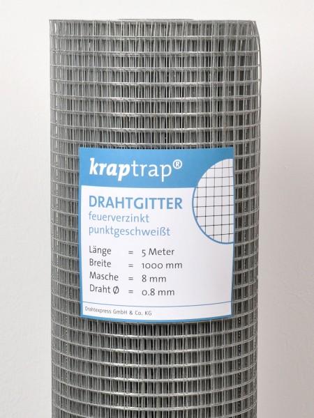 Kraptrap® Volierendraht Drahtgitter 8 mm Masche, 100 cm breit, 0,8mm Drahtstärke