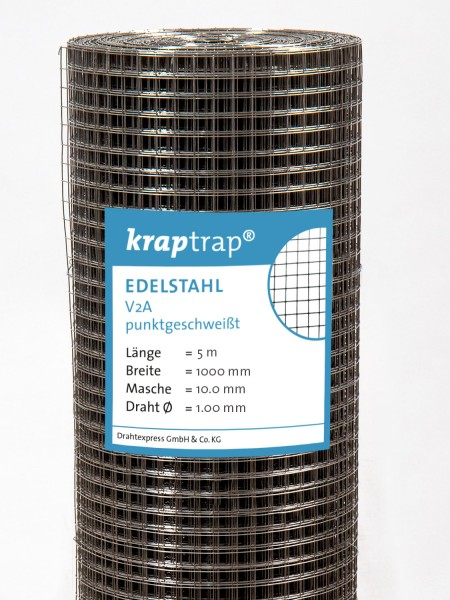 Kraptrap® Edelstahl Volierendraht Drahtgitter V2A 10x10 mm Masche