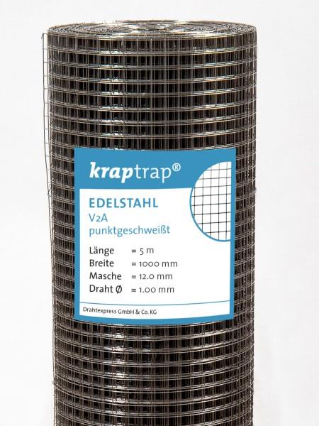 Kraptrap® Edelstahl Volierendraht Drahtgitter V2A 12x12 mm Masche