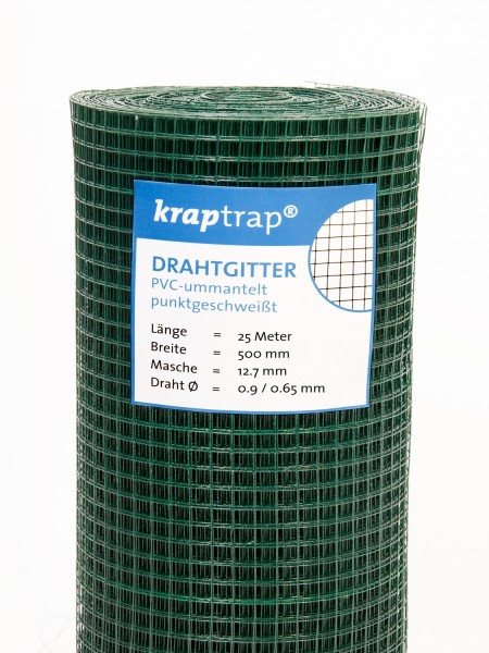 Kraptrap® Volierendraht Drahtgitter grün 12,7 mm Masche, 50 cm breit, 25 m lang