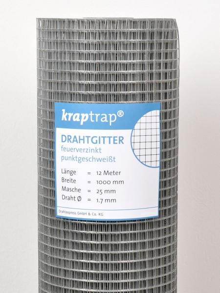 Kraptrap® Volierendraht Drahtgitter 25 mm Masche, 100 cm breit, 1,7mm Drahtstärke
